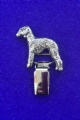 Dog Show Breed Ring Number Clip - Bedlington Terrier - FULL BODY Silver or Gold Style